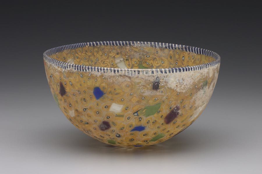 Hellenistic or Roman bowl, Eastern Mediterranean, late 2nd century B.C.–early 1st century A.D., cast mosaic glass.