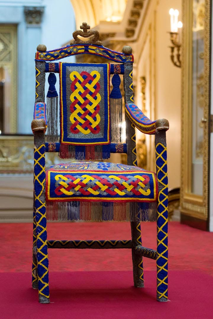 A beaded Yoruba throne presented to The Queen by the people of Nigeria in 1956. Royal Collection Trust / © Her Majesty Queen Elizabeth II 2017