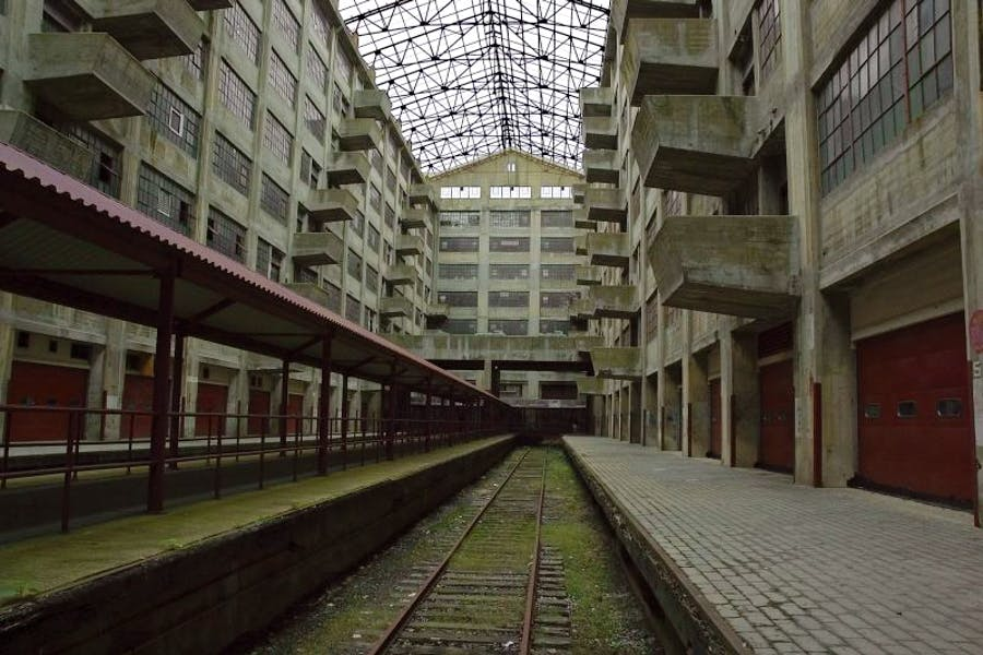 The interior of the Atrium building of the disused Brooklyn Army Terminal.