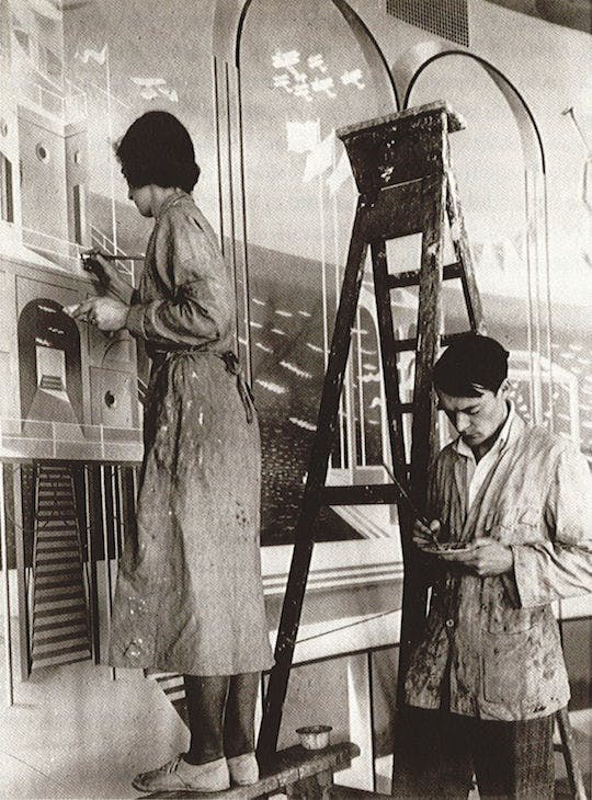 Tirzah Garwood and Eric Ravilious at work on the Morecambe murals, June 1933