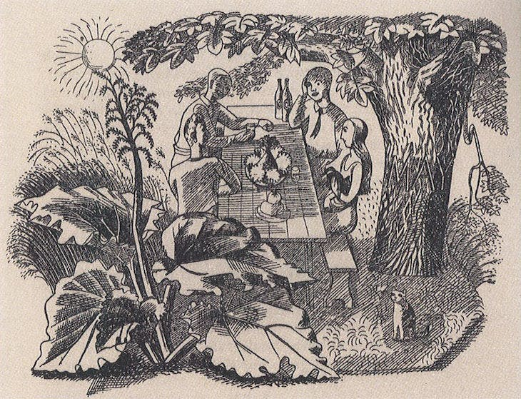 Illustration for May (showing Eric Ravilious, Edward Bawden and Tirzah Garwood in the Brick House garden), by Edward Bawden, published in Ambrose Heath's Good Food, 1932. © Estate of Edward Bawden