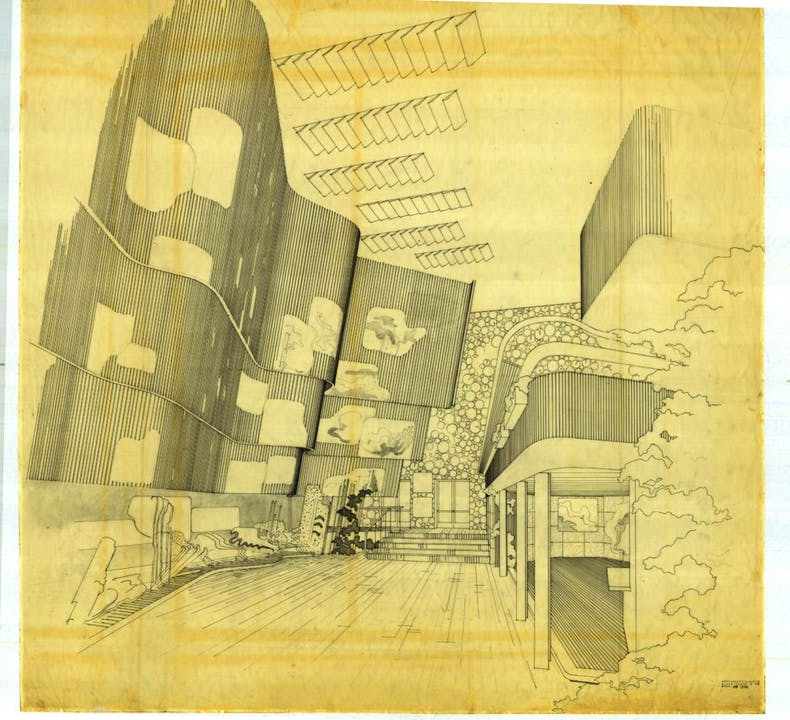 © Alvar Aalto Museum Drawing of Alar Aalto designed Finnish Pavilion at the New York World's Fair of 1939-40, © Alvar Aalto Museum