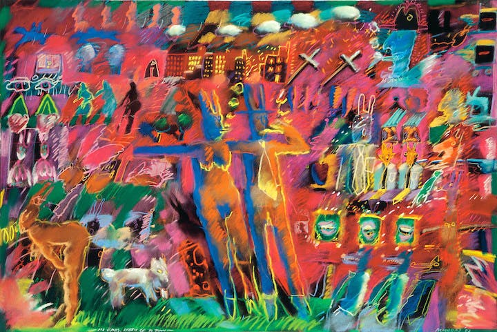 Mr. and Mrs. Rabbit Go to Town (1982), Carlos Almaraz. © Carlos Almaraz Estate. Photo courtesy Robert M. DeLapp Gallery