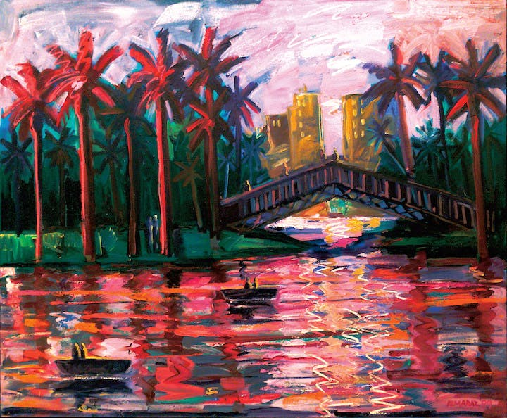 Echo Park Bridge at Night (1989), Carlos Almaraz. © Carlos Almaraz Estate. Photo by Isabella McGrath