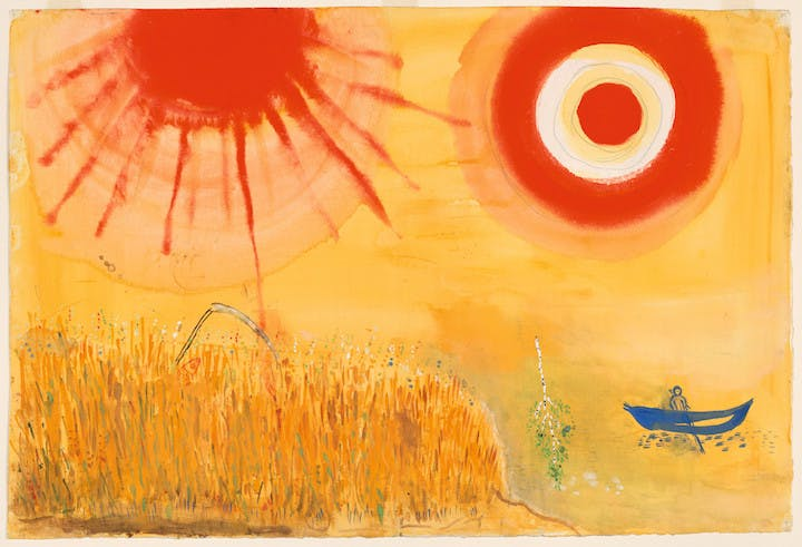 Study for Backdrop for Aleko: A Wheatfield on a Summer's Afternoon (Scene III), 1942, Marc Chagall. © 2017 Artists Rights Society (ARS), New York/ADAGP, Paris, digital image © 2017 The Museum of Modern Art/licensed by SCALA/Art Resource, NY