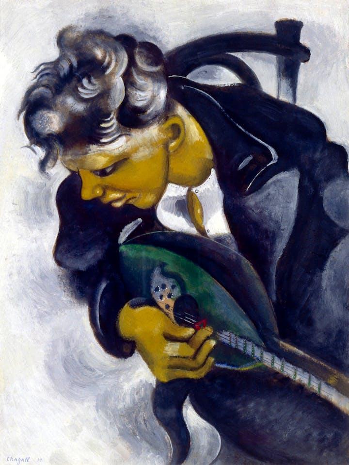 David with a Mandolin (1914), Marc Chagall. © 2017 Artists Rights Society (ARS), New York/ADAGP, Paris, photo © 2017 Archives Marc et Ida Chagall, Paris