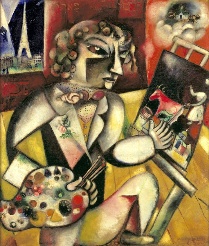 Self-Portrait with Seven Fingers (1912), Marc Chagall. © 2017 Artists Rights Society (ARS), New York/ADAGP, Paris, photo: Banque d'images, ADAGP/Art Resource, NY