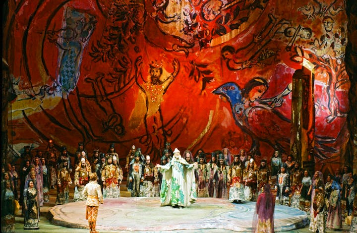 Set design by Marc Chagall for Die Zauberlote (The Magic Flute), February 1967, Metropolitan Opera, New York. © 2017 Artists Rights Society (ARS), New York/ADAGP, Paris, photo: Frank Dunand/Metropolitan Opera Archives
