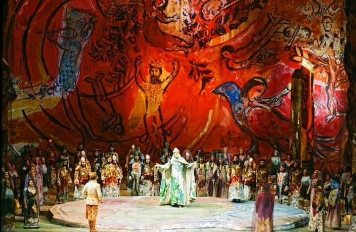 Set design by Marc Chagall for Die Zauberlote (The Magic Flute), February 1967, Metropolitan Opera, New York. © 2017 Artists Rights Society (ARS), New York/ADAGP, Paris, photo: Frank Dunand/Metropolitan Opera Archives
