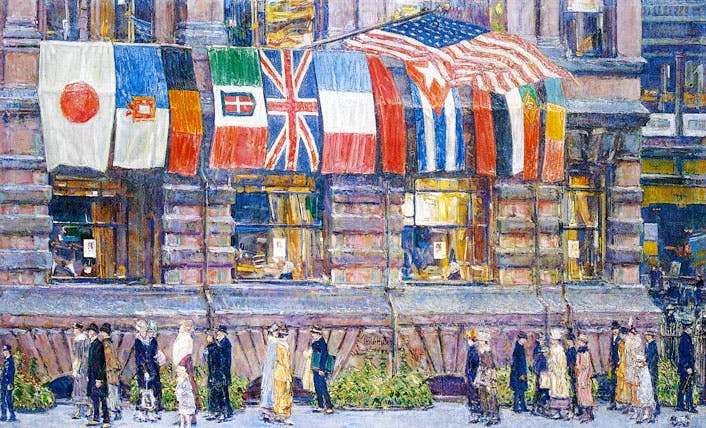 Allied Flags, April 1917 (1917), Childe Hassam. Whitney Museum of American Art, New York; promised gift of an anonymous donor