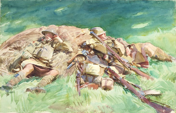 Highlanders Resting at the Front (1918), John Singer Sargent.