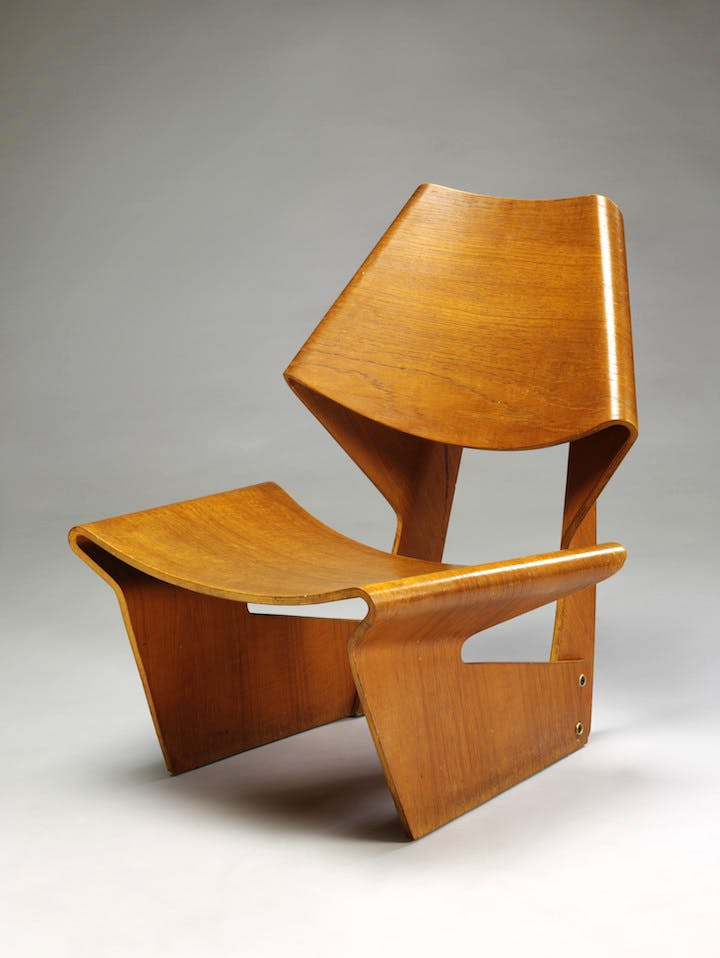 Moulded plywood chair (1963), Grete Jalk. © The Royal Danish Academy of Fine Arts, Schools of Architecture, Design and Conservation. Photo: Victoria and Albert Museum, London