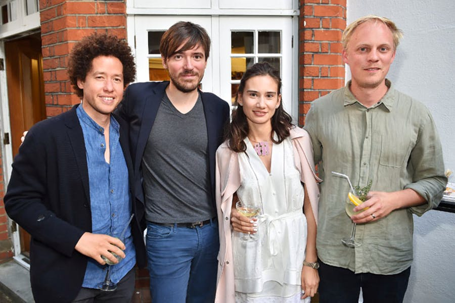 Michael Armitage, Eugenio Re Rebaudengo, Olga Donskova and Nick Goss at the Apollo summer party 2017. Photo © Nick Harvey
