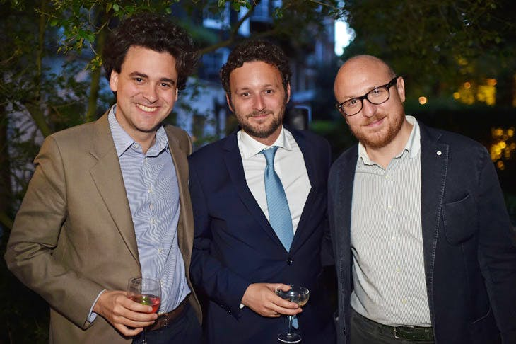 Julien Domercq, Thomas Marks and Arturo Galansino at the Apollo summer party 2017. Photo © Nick Harvey