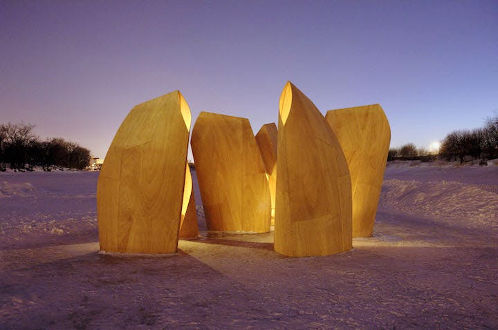 Ice skating shelters (2012), designed by Patkau Architects. © Patkau Architects
