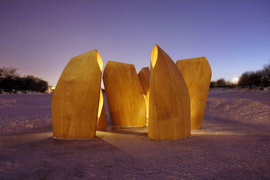 Ice skating shelters (2012), designed by Patkau Architects. © Patkau Architects