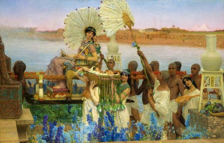 The Finding of Moses, (1904), Lawrence Alma-Tadema, private collection, wikimedia commons