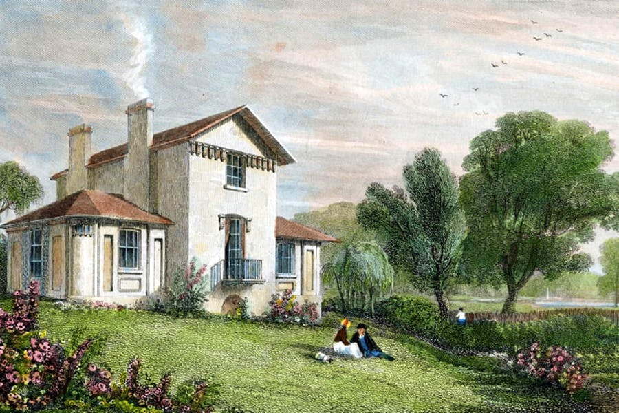 Sandycombe Lodge, Twickenham, Villa of J.M.W. Turner, Esq., R.A. (detail; 1829), engraving by W.B. Cooke for Thames Scenery after a drawing (c. 1814) by William Havell. Turner's House Trust