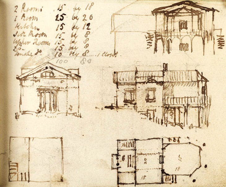 Unexecuted elevations and plans for Sandycombe Lodge (c. 1809–11), J.M.W. Turner. © Tate, London 2012