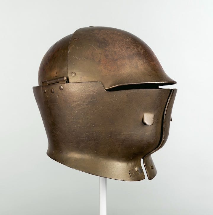 American Helmet Model No. 7, Experimental Sentinel's helmet prototype, produced by W. H. Mullins Co., Salem, Ohio, 1918. The Metropolitan Museum of Art