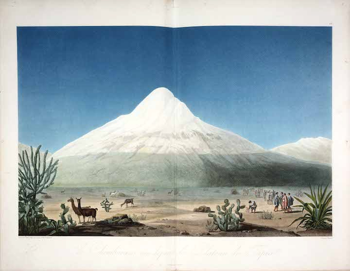 Chimborazo Seen from the Tapia Plateau (from View of the cordilleras and monuments of the indigenous peoples of the Americas; 1810–13), Alexander von Humboldt. The Huntington Library, Art Collections and Botanical Gardens