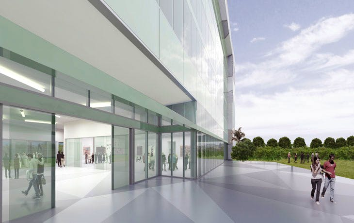 Artist rendering of ICA Miami, North Facade. Courtesy of Aranguren & Gallegos Arquitectos and Wolfberg Alvarez