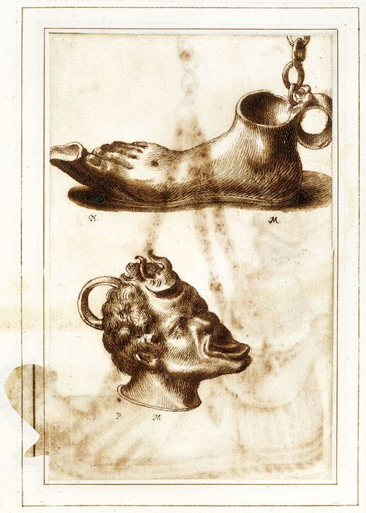 Two bronze lamps in the dal Pozzo and Poussin (?) collections, from the Antichità Diverse album (fol. 64v) (17th century), Italian. Royal Library Windsor; © HM Queen Elizabeth II