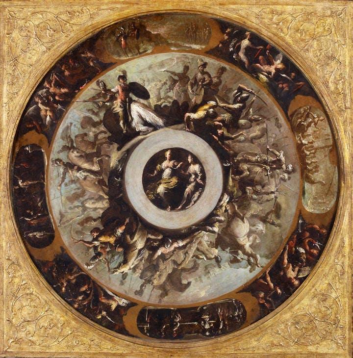 Design for a silver basin (c. 1613–c. 1624), Bernardo Strozzi. Ashmolean Museum, Oxford
