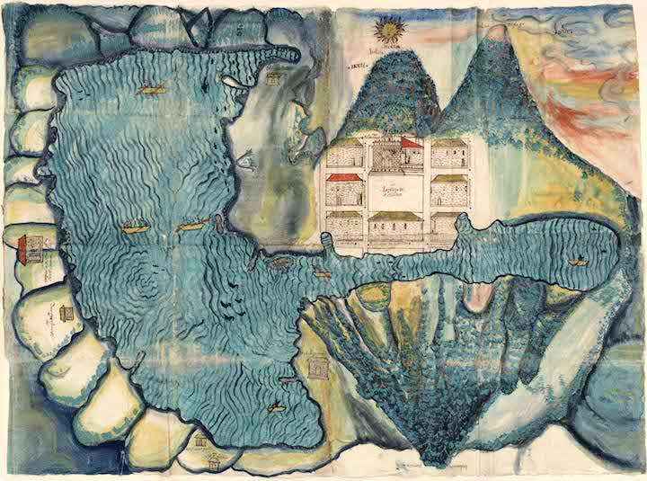 Relación Geográfica Map of Santiago Atitlán (1585), artist unknown. Joaquín García Icazbalceta Manuscript Collection, The University of Texas at Austin