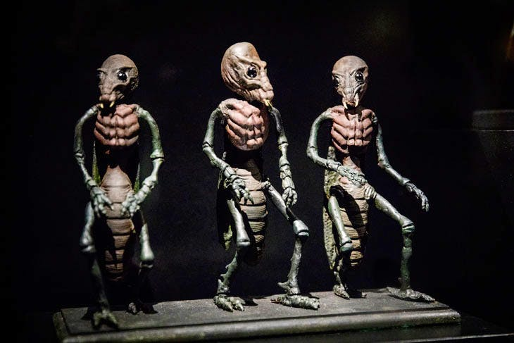 Models, Ray Harryhausen Foundation at 'Into the Unknown: A Journey through Science Fiction' (installation view; 2017), at the Barbican Centre. Photo: Tristan Fewings/Getty Images