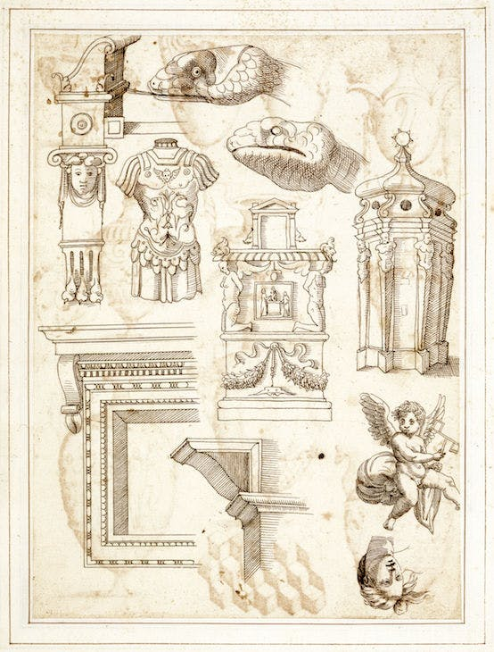 Various architectural elements and sculptures, from the Antichità Diverse album (fol. 108v) (16th century), Italian. Royal Library, Windsor; © HM Queen Elizabeth II 2017