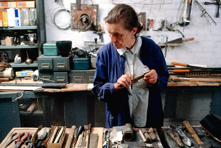 Louise Bourgeois in her home studio in 1974. Photo: Mark Setteducati, © The Easton Foundation