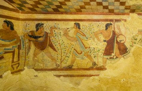 Frescoes in the Tomb of the Leopards, Necropolis of Monterozzi, Tarquinia. Courtesy Mibact. Soprintendenza Archeologia, Belle Arti e Paesaggio per l'Area Metropolitana di Roma, la Provincia di Viterbo e l'Etruria Meridionale