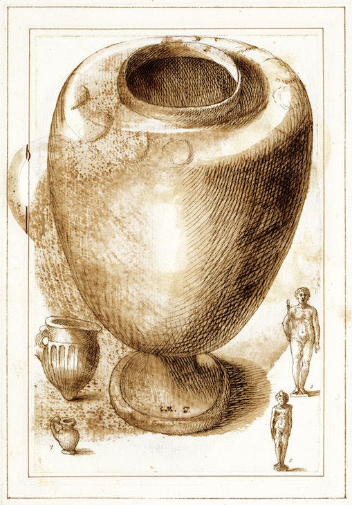 Pottery burial urn and its contents, from the Antichità Diverse album (fol. 18v) (17th century), Italian. Royal Library, Windsor; © HM Queen Elizabeth II 2017