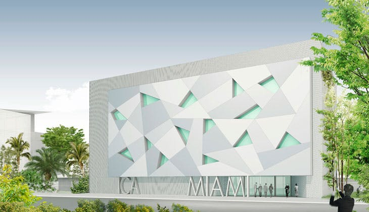 Artist rendering of ICA Miami, South Facade. Courtesy of Aranguren & Gallegos Arquitectos and Wolfberg Alvarez