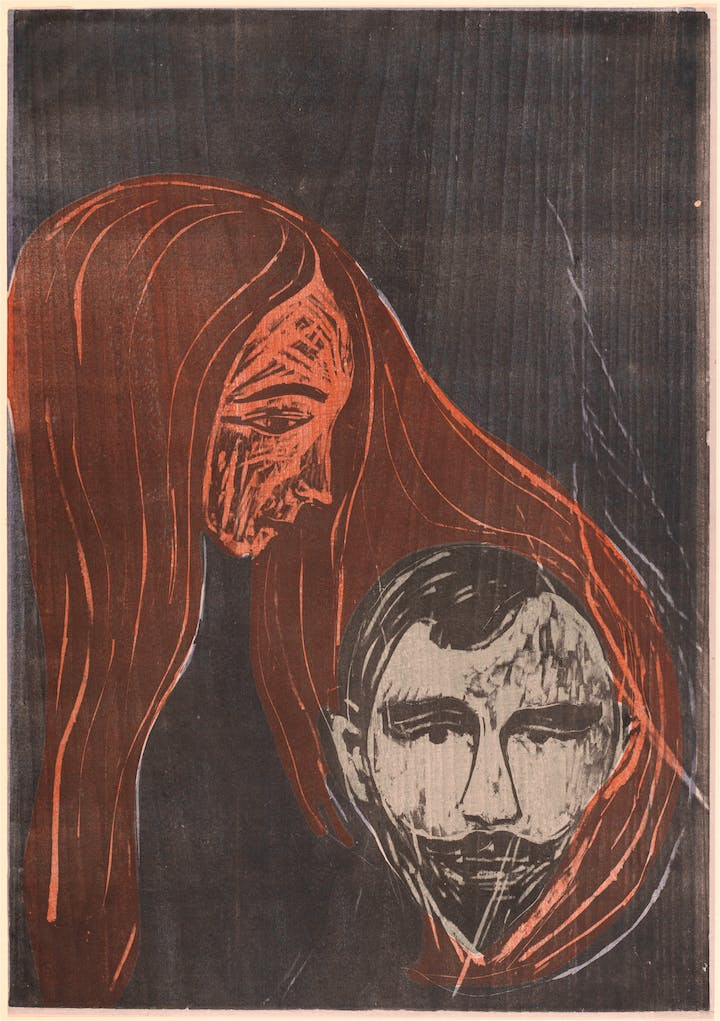 Man's Head in Woman's Hair (Mannerkopf in Frauenharr) (1896), Edvard Munch. Courtesy of National Gallery of Art, Washington