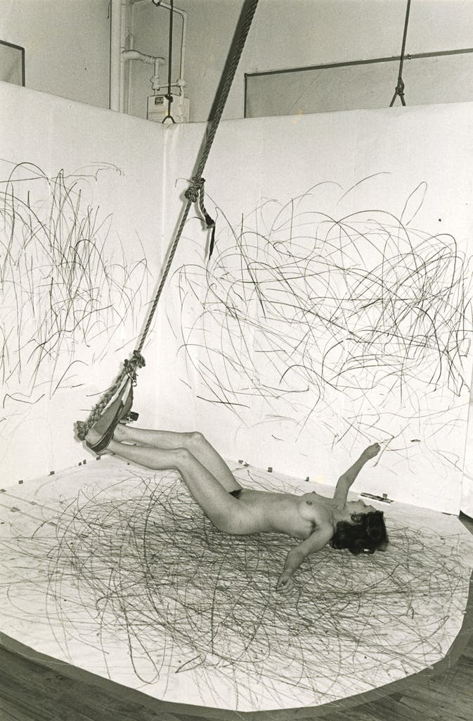 Up to and Including her Limits, (1973–76), Carolee Schneemann. Documentation of the performance at the Kitchen, New York, February 1976.