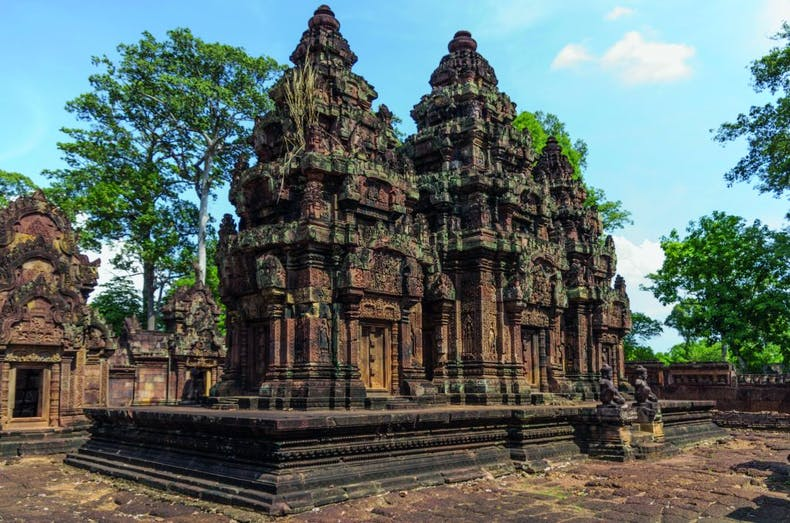 Carved towers in the Banteay Srei temple complex in Angkor, which Malraux visited in 1923, photo: Paul Lee/Alamy Stock Photo