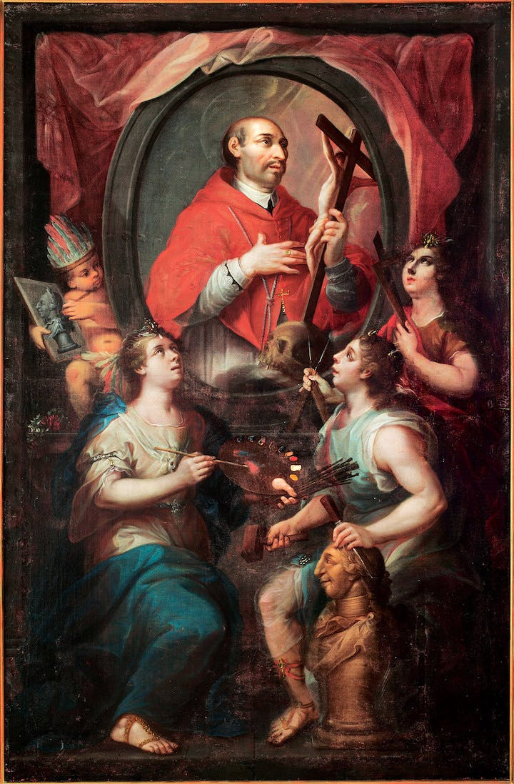 Saint Charles Borromeo and the Allegory of the Arts (1782), attributed to Rafael Joaquín Gutiérrez. Photo © Museo Nacional del Virreinato, INAH, Secretaría de Cultura, Tepotzotlán, Mexico, by Jorge Vertiz
