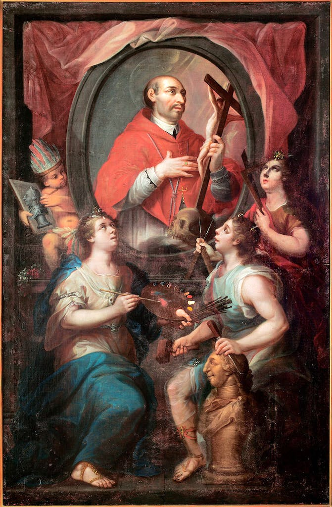 Saint Charles Borromeo and the Allegory of the Arts (1782), attributed to Rafael Joaquín Gutiérrez. Photo © Museo Nacional del Virreinato, INAH, Secretaría de Cultura, Tepotzotlán, Mexico, by Jorge Vertiz