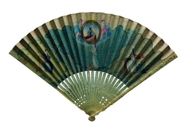 Fan with a hand-painted leaf showing Prince Charles Edward Stewart surrounded by classical gods, (c. 1746), probably designed by Robert Strange, National Museums, Scotland