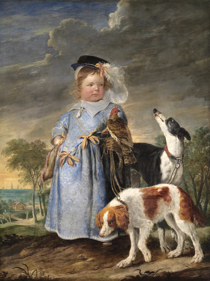 Portrait of a boy as a hunter (c.1630–61), Erasmus Quellinus II en Jan Fijt. © KMSKA/Lukas – Art in Flanders VZW, Photo: Hugo Maertens