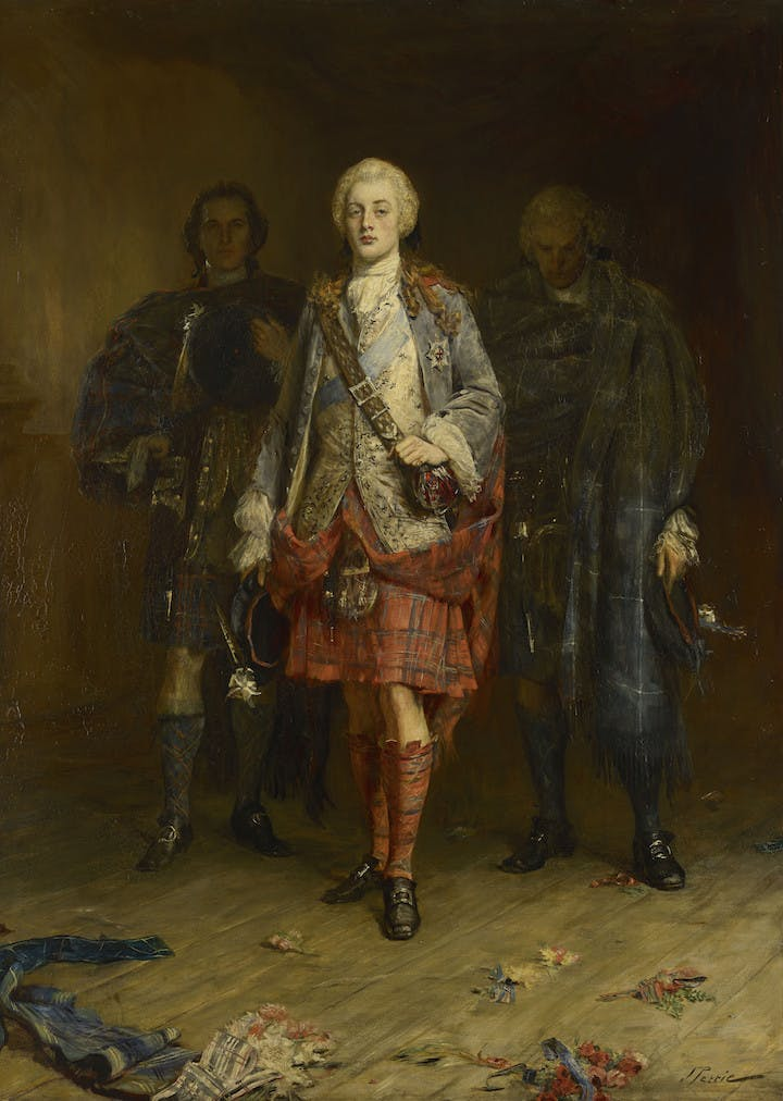 Bonnie Prince Charlie Entering the Ballroom at Holyroodhouse (before 1982), John Pettie. © National Museums Scotland
