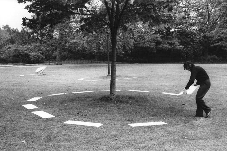 Photograph documenting Signalling of Three Objects by David Lamelas (b. 1946) in Hyde Park, London, 1968. Courtesy of the artist and Kayne Griffin Corcoran