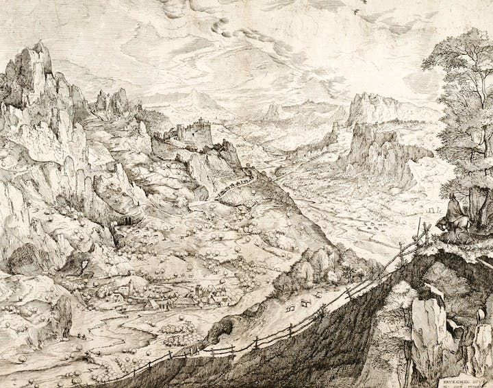 Large Alpine Landscape (1555–56), Pieter Bruegel the Elder (engraved by Jan and Lucas van Duetecum). © The Albertina Museum, Vienna