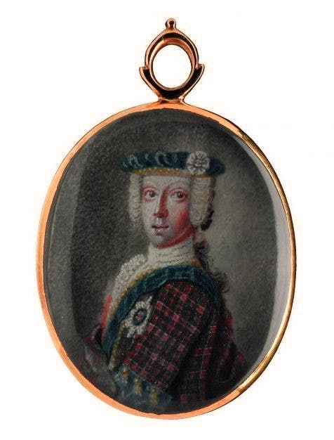 Locket consisting containing a miniature of Prince Charles Edward Stuart, with four pieces of his hair gummed on the back, court (n.d.), National Museums Scotland