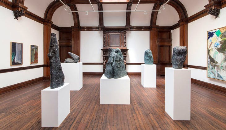 Installation view of 'Per Kirkeby: Paintings and Bronzes from the 1980s' at Michael Werner Gallery, London, photo: courtesy Michael Werner Gallery, London and New York