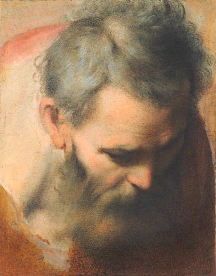 Study for the Head of St. Joseph (ca. 1586), Study for the Head of St. Joseph. Courtesy of J. Paul Getty Trust