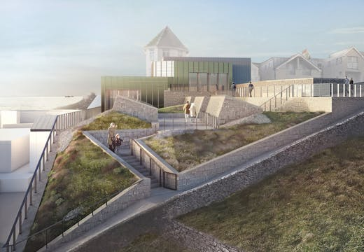Tate St Ives exterior visualisation. © Jamie Fobert Architects