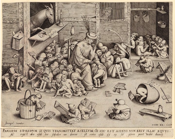 The Ass at School (1557), Pieter Bruegel the Elder (engraved by Pieter van der Heyden). © The Albertina Museum, Vienna